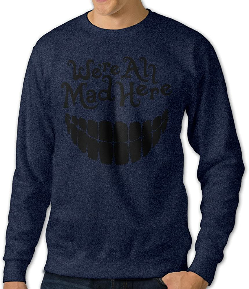 Amzone Men's Evil Teeth We're All MAD Here Superior Long Sleeve T Shirt Navy