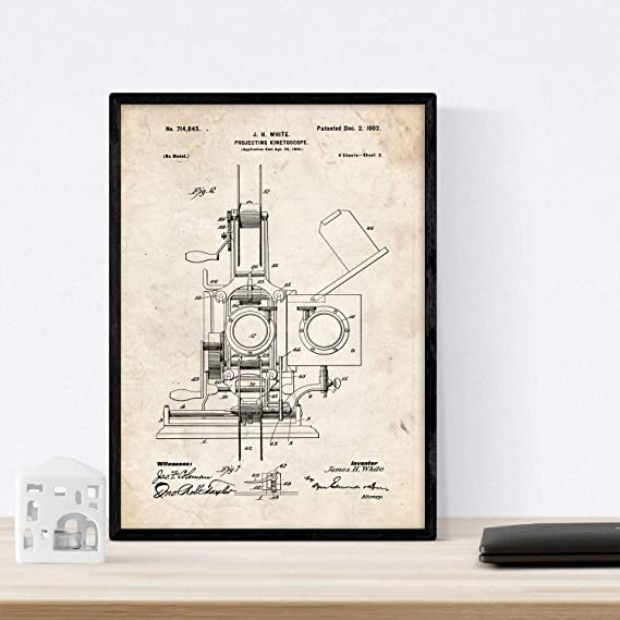 Nacnic Poster con Patente de Kinetoscopio 2. Lámina con diseño de ...