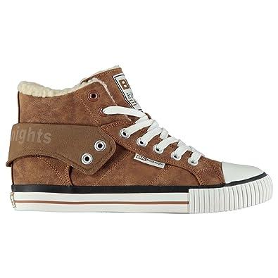 2ddb149ec Amazon.com | British Knights Kids Roco Fur Junior Boys Fashion Trainers Hi  Top Ankle Shoes Cognac UK 5 (38) | Sneakers