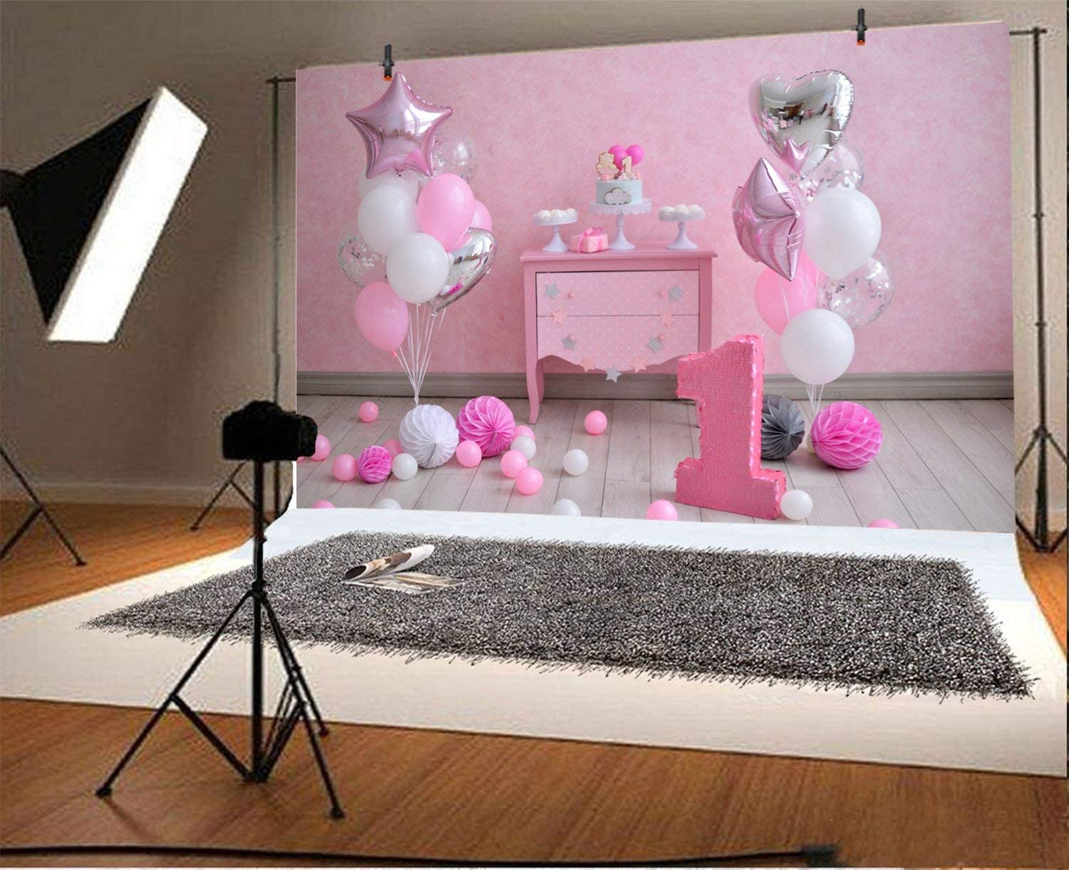 GoEoo 9x6ft Pink Babyroom 1st Birthday Photo Props Decoration Balloons Honeycomb Paper Flowers Poms Girl Little Princess Cake Smash Photography Backdrop Photo Studio Props