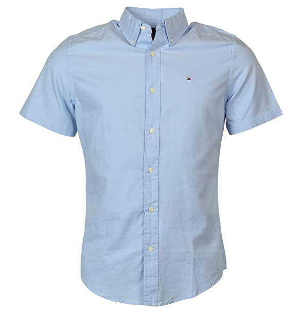 Tommy Hilfiger Mens Custom Fit Short Sleeve Button Down Shirt