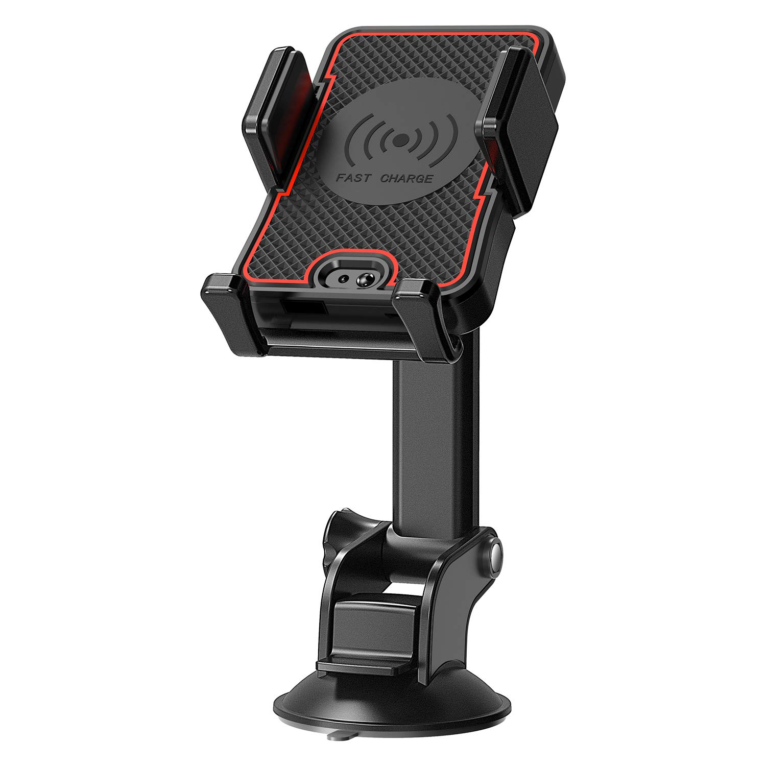 Wireless Charger Car Mount CellPhone Holder with Automatic Infrared Sensor 2 in 1 Fast Charging for Huawei Samsung Galaxy S10 S9 Plus S8 S7 Edge Note 8 5 iPhone Xs MAX Xr X 8 All QI Devices Red Black