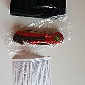 Albainox 19495GR1010. Navaja Roja Seguridad Guardia Civil. Mango de Aluminio. Hoja con Sierra de 8.1 Cm. Incluye Punta Rompevidrio y Cutter Cinturón ...