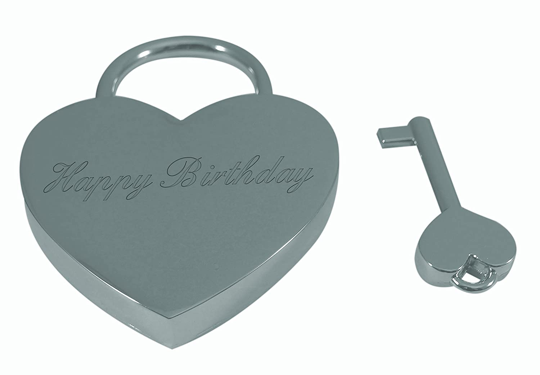 Luxury Engraved Gifts UK Mens Happy Birthday Heart Shaped Padlock With Key/&Box