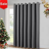 "Patio Sliding Glass Door Curtain - Wide Blackout Curtains, Keep Warm Draperies, Grey Sliding Door Drapes by NICETOWN (Gray, 100"" W x 84"" L)"