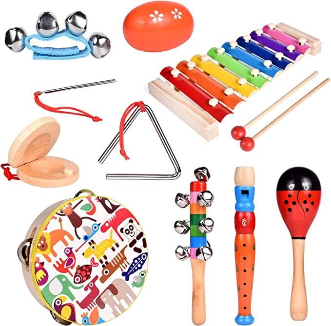 heaven2017 Wooden Tambourine Jingle Percussion Musical Instrument Kids Toy Random Style 1 Piece