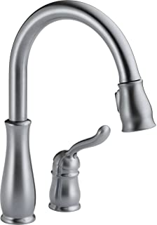 Delta 978 Arwe Dst Leland Single Handle Pull Down Kitchen Faucet Arctic Stainless Touch On Kitchen Sink Faucets Amazon Com