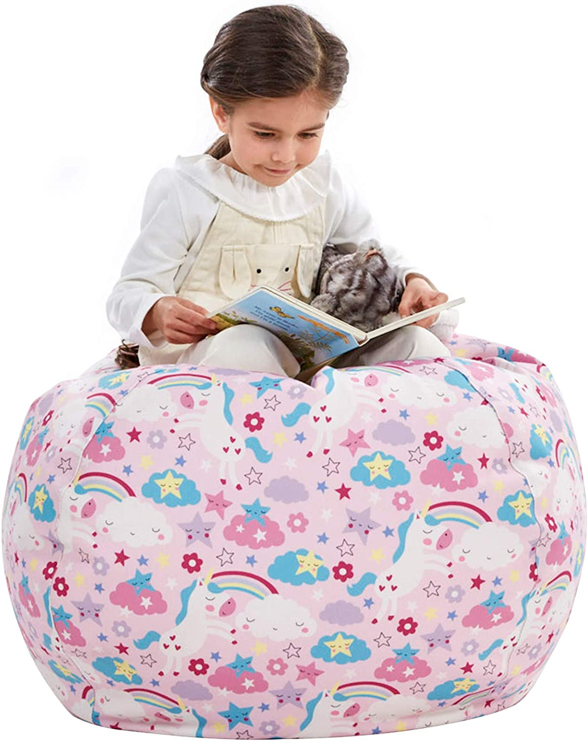 Nobildonna Stuffed Animal Storage Bean Bag Chair Cover Only for Kids Girls Toddler, Large Beanbag Chair Without Filling for Organizing Children Soft Plush Toys (32x29inch)