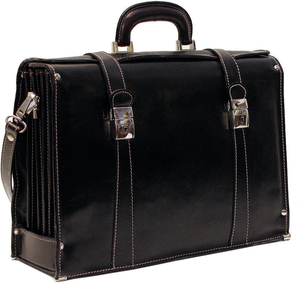 Floto Mens Custom Initials Personalization Trastever Briefcase in Black