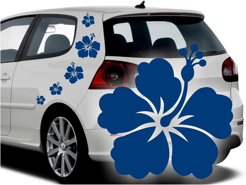 Folistick Hibiskus Hawaii Blumen Aufkleber Set Hibiskusbl/üten Autoaufkleber 5-teilig PINK