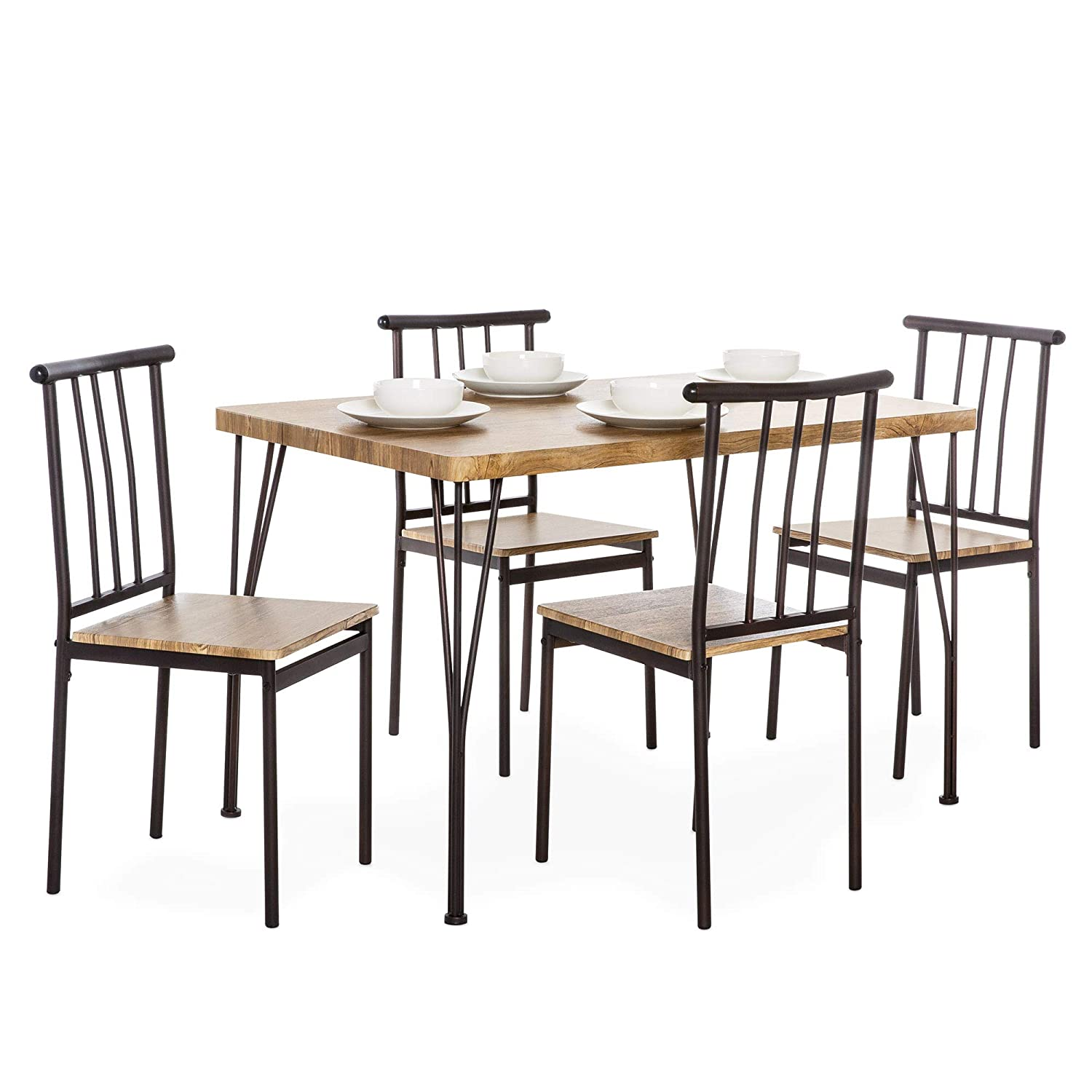 Amazon com best choice products 5 piece indoor modern metal and wood rectangular dining table furniture set w 4 chairs brown table chair sets