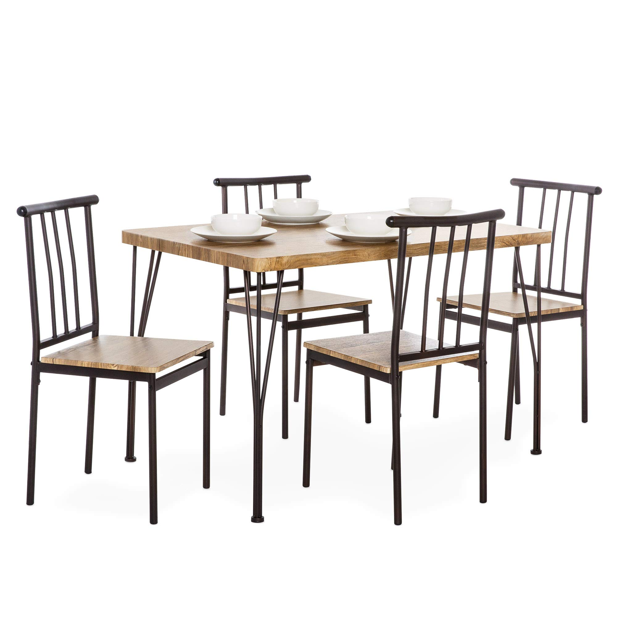 Best Choice Products 5-Piece Indoor Modern Metal and Wood Rectangular Dining Table Furniture Set for Kitchen, Dining Room, Dinette, Breakfast Nook w/ 4 Chairs - Brown