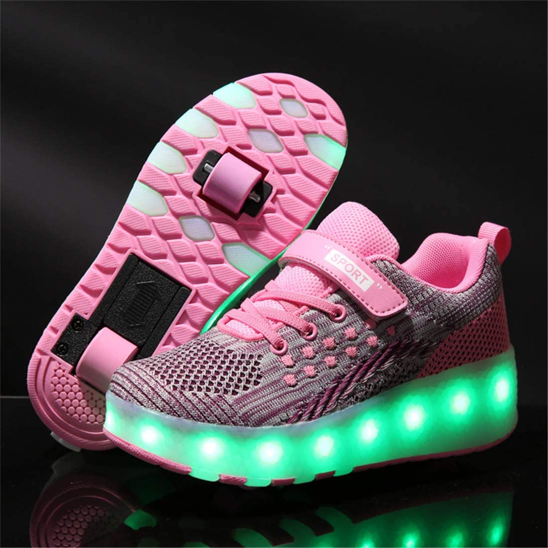 Lucky Kids Enfants LED Chaussures avec Roues et USB Rechargeable Clignotante Chaussures de Skateboard Multisports Outdoor Gymnastique Mode Baskets Patins pour Gar/çons Filles