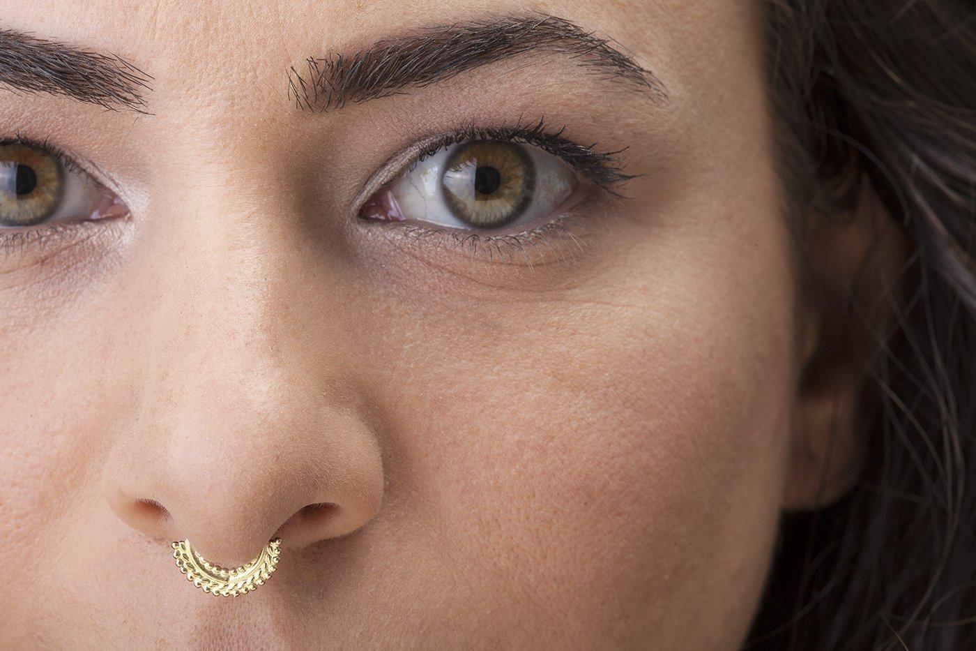 Amazon Com Indian Septum Ring Designer Solid 14k Yellow Gold