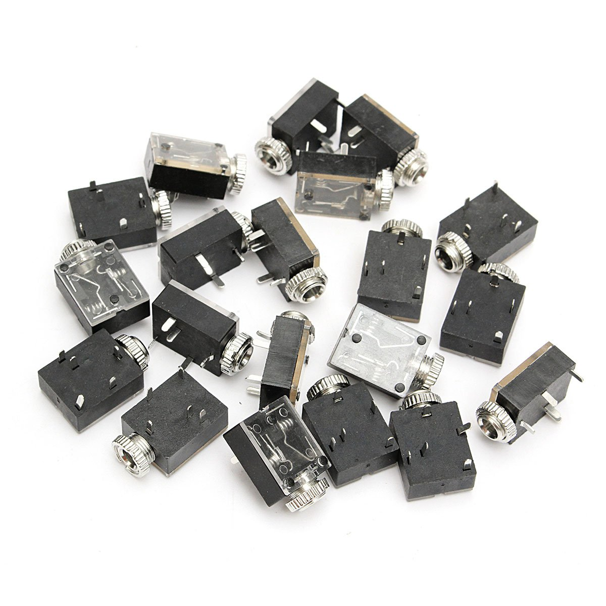 KISENG 20Pcs 1//8 3.5mm Stereo Jack Socket Headphones with Nut PCB Mounting Chassis