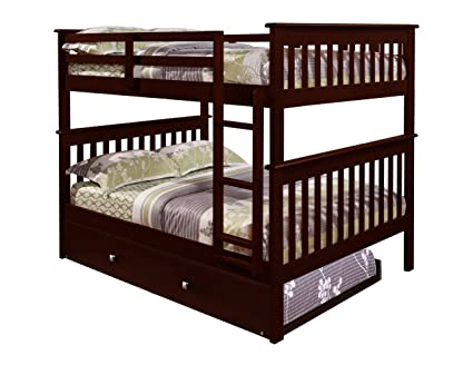 Amazon.com: DONCO Bunk Bed Full over Full Trundle in Cappuccino ...