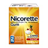 Nicorette Nicotine Gum Fruit Chill 2 milligram Stop Smoking Aid 160 count