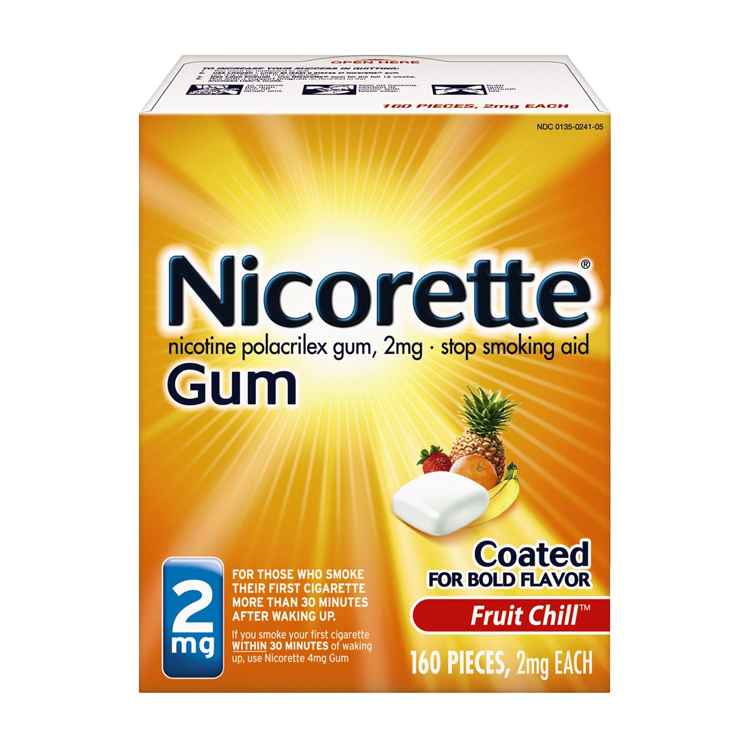 Nicorette Nicotine Gum to Stop Smoking, 2mg, Fruit Chill, 160 Count
