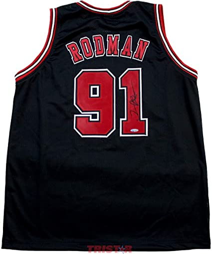 Image Unavailable. Image not available for. Color  Dennis Rodman Signed  Autographed Chicago Bulls Black Jersey TRISTAR COA 58dc78164