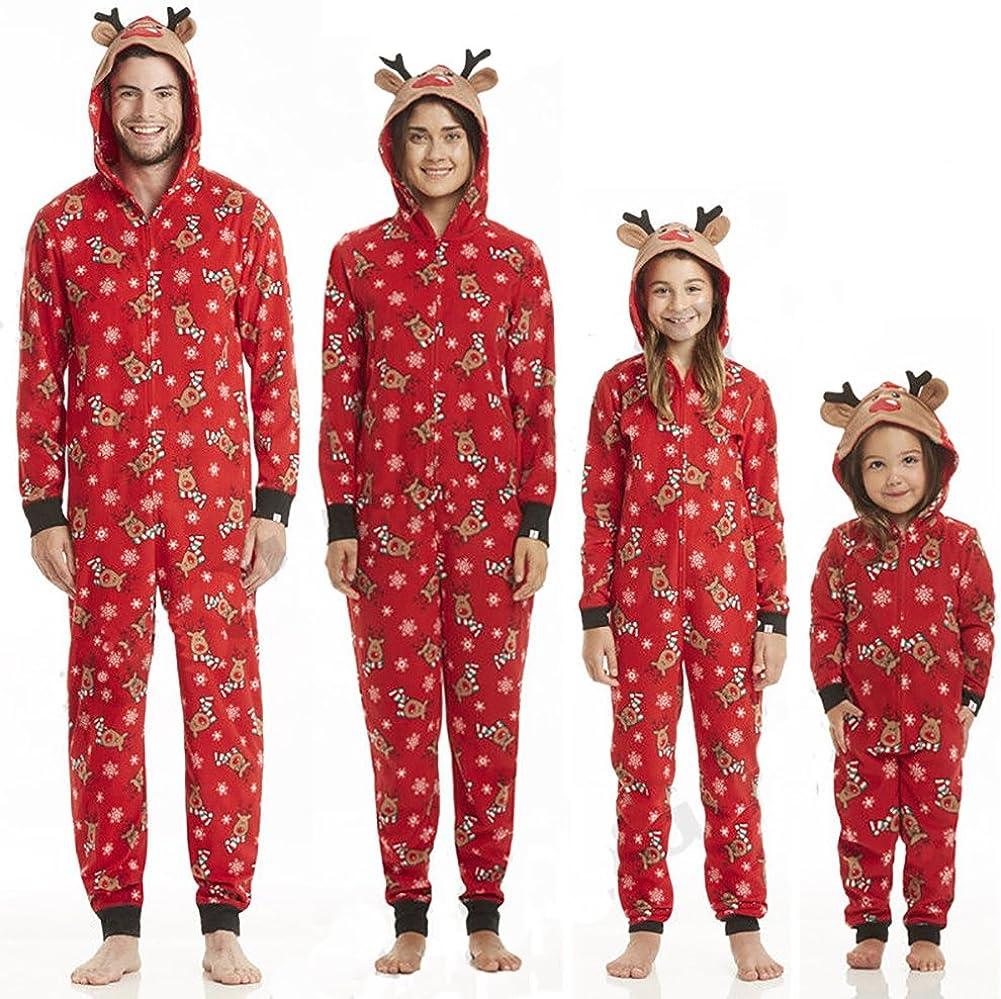 Carolilly Pyjama de No/ël Famille Motif des Cerfs Combinaison Jumpsuit Barboteuse Romper Rouge