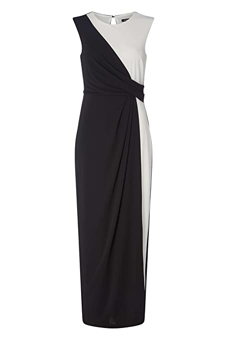 50aa65f121 Roman Originals Womens Monochrome Maxi Wrap Dress - Ladies Evening Black  Tie Formal Dinner Party Prom Dresses - Ivory Black  Amazon.co.uk  Clothing