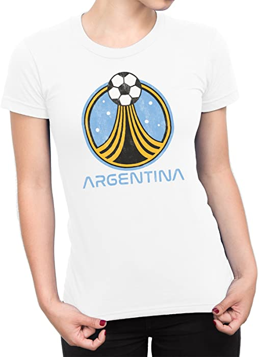 b6b79a2485f Amazon.com  Womens Argentina Country Name and Rocket Ball T-Shirt Football  World Cup 2018 Ladies  Clothing