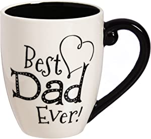 Cypress Home Beautiful Dad Black Ink Ceramic Cup O' Joe with Matching Box - 6 x 5 x 4 Inches Indoor/Outdoor home goods For Kitchens, Parties and Homes
