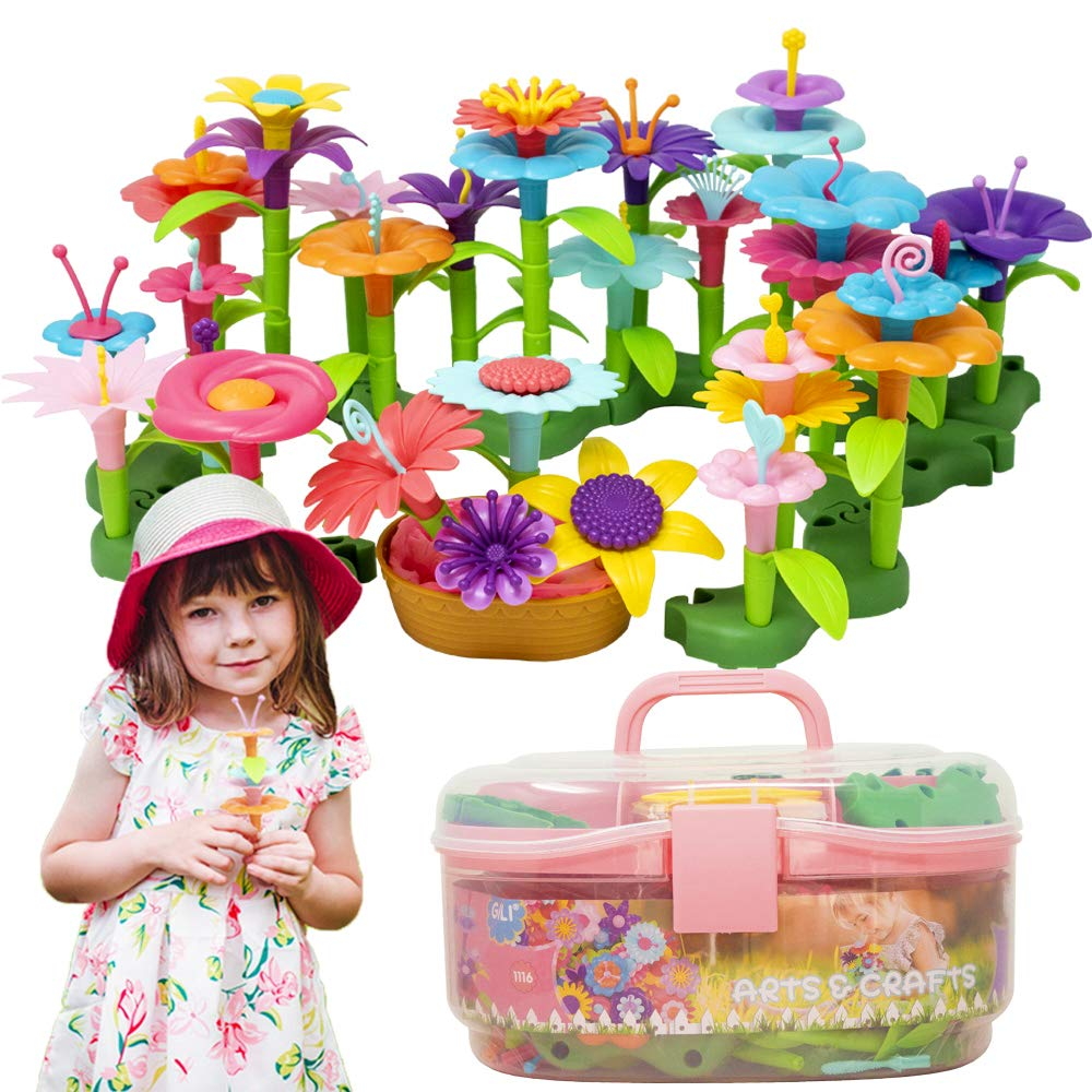 Gili Flower Toys, Build a Bouquet Garden Toys for 3, 4, 5, 6 Year Old Toddler Girls, Arts and Crafts for Little Kids Age 3yr-9yr, Best Christmas Birthday Gifts for Indoor and Outdoor Creativity Play