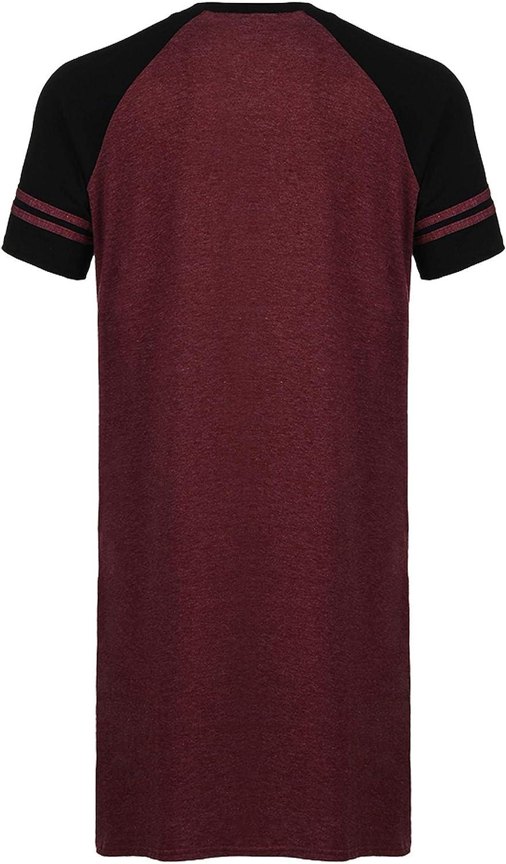 Henley-Shirt V-Ausschnitt Lounge-Nachtw/äsche Skylin Herren Schlafhemd kurz/ärmelig Baumwolle M-XXXL
