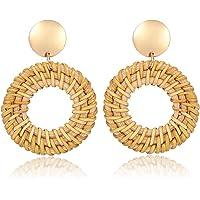 ATIMIGO Boho Rattan Hoop Earrings for Women Handmade Straw Wicker Braid Round Drop Dangle Earrings Lightweight Statement…