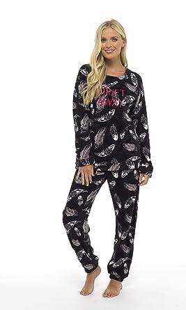 e172f649620b6 Pyjama Femme Hiver Combinaison Pyjamas Pijama Femmes Fille Extra Doux  Manches Lounges (Noir Plume,