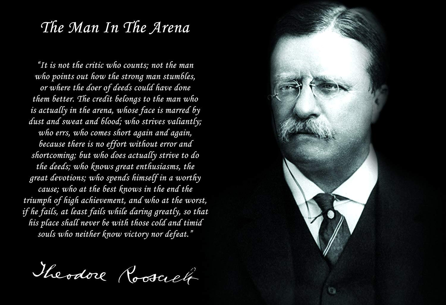 """/""""THE MAN IN THE ARENA/"""" QUOTE PUBLICITY PHOTO TEDDY THEODORE ROOSEVELT JR"""