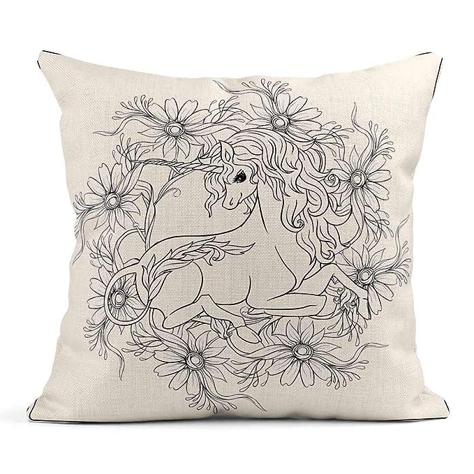 Kinhevao Cojín Unicornio y fantásticas Flores Vintage en ...