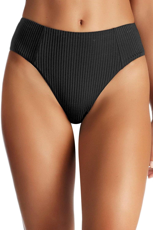 Vitamin A Women's Black EcoRib Sienna High Waist Bikini Bottom