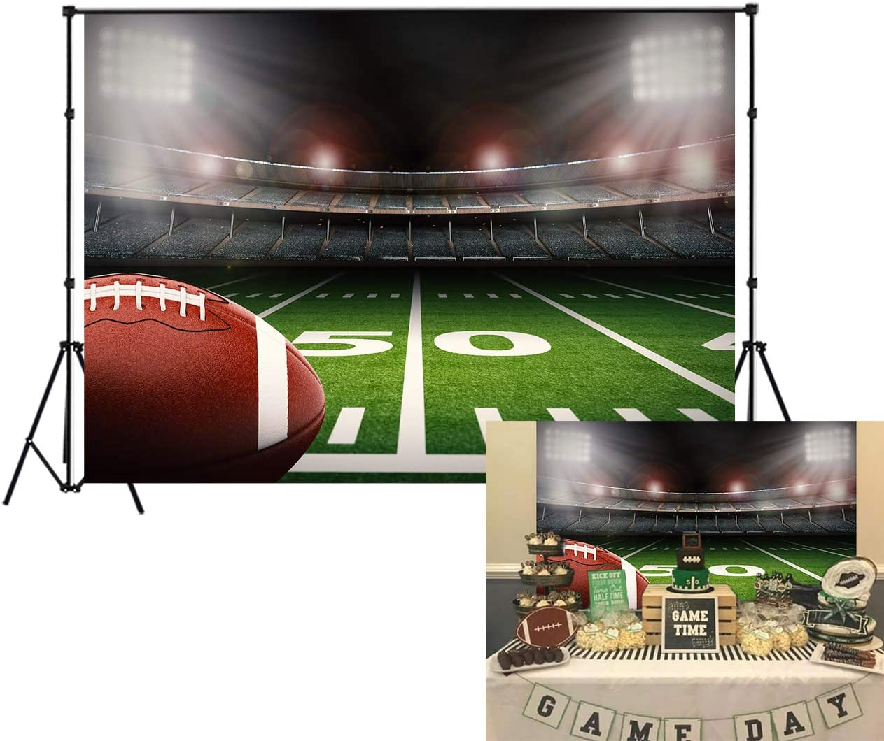 LB 7x5ft Vinyl American Football Backdrop for Birthday Party Super Bowl Sports Stadium Green Grass Backdrops for Photography Kids Birthday Party Cake Table Banner Photo Booth Studio Props