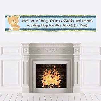 boy baby teddy bear baby shower decorations party banner