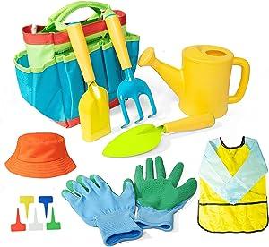 Gonioa Kids Gardening Tool Set, All in One Garden Toys Set Including Kids Watering Can, Children Gardening Gloves, Kids Shovel, Rake, Fork and Garden Tote Bag- Gardening Kit Toys Gift for Toddler
