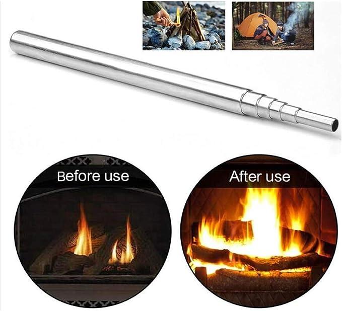 HPiano 2pcs Tubo de Fuego de Soplado, Fuelle de Fuego Plegable Blow Fire Tube de Acero Inoxidable para Exteriores Herramienta de Tubo de Soplado Manual Al Aire Libre Camping Supervivencia de Acampada:
