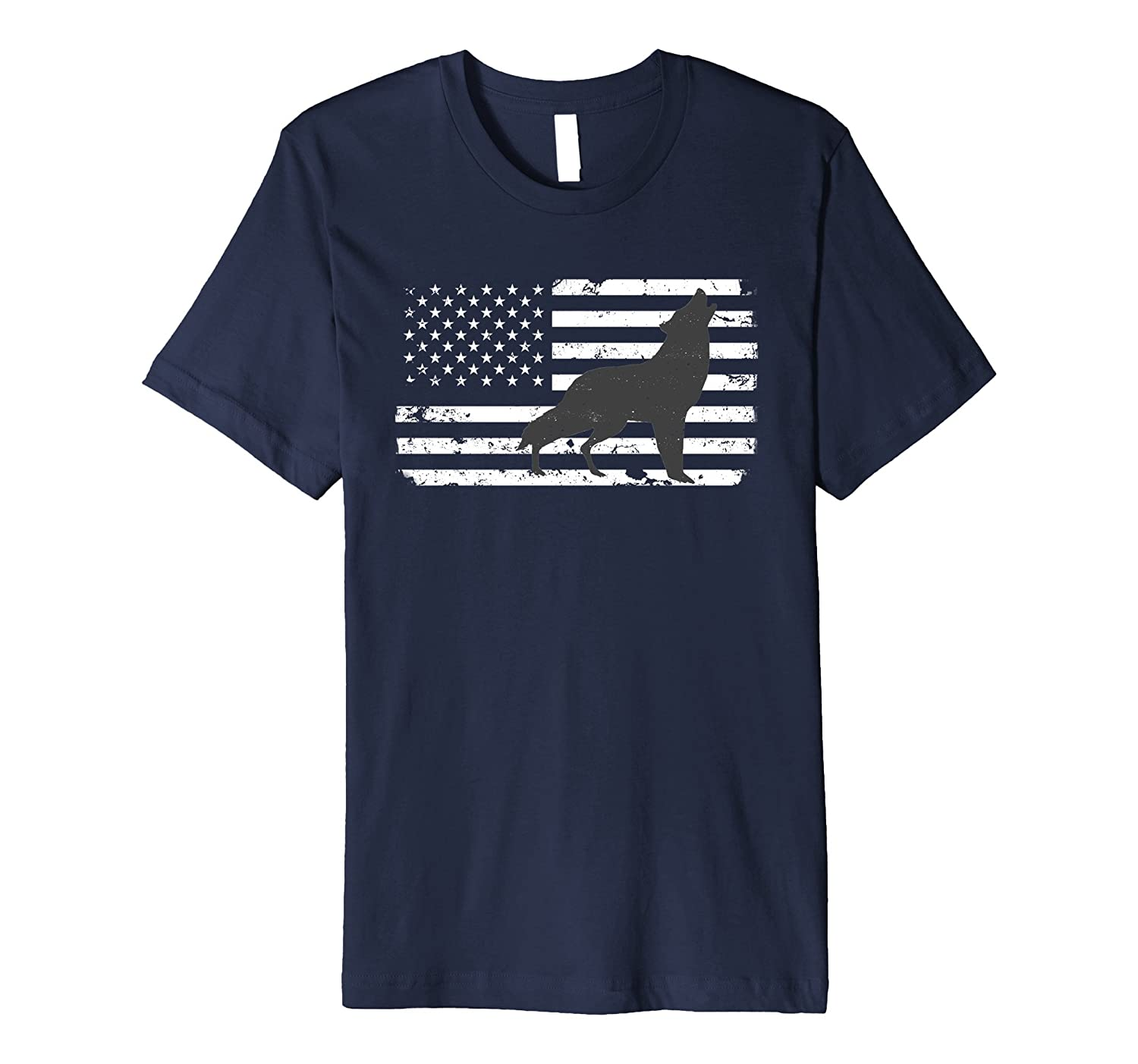 Gray Lone Wolf Silhouette Distressed American Flag T Shirt-TH