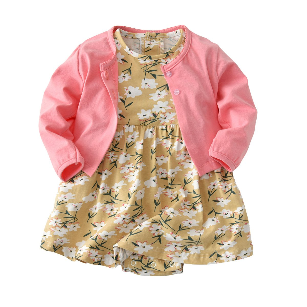 Baby Girl Long Sleeve Floral Romper Dress Skirt Casual Toddler Baby Girl Clothes Set Outfit