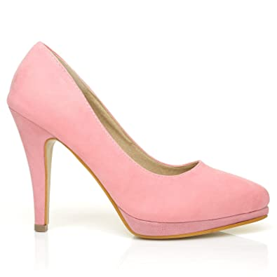 3d9b91092ed7 Emma Baby Pink Faux Suede Stiletto High Heel Platform Pointed Shoes ...