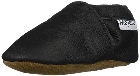 Mejale Baby Shoes Soft Soled Leather Moccasins Anti-Skid Infant Toddler Prewalker Dark Grey