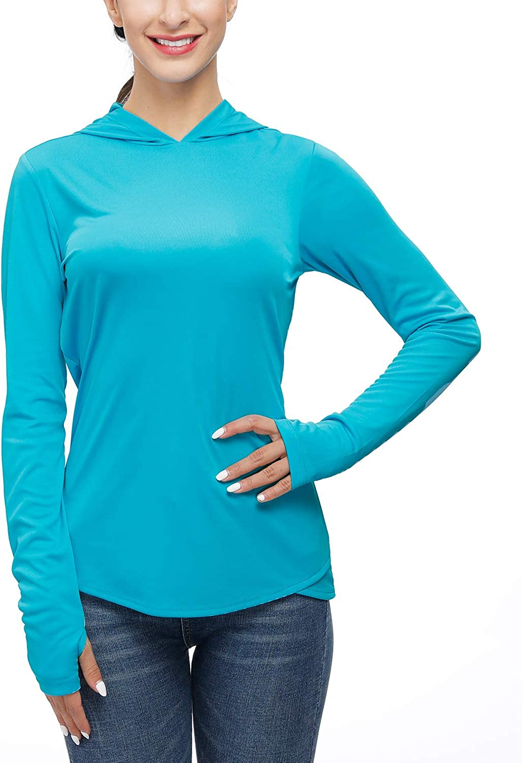 Sun Protection Hoodies Long Sleeve Outdoor Hiking T-Shirts with Thumb Holes Womens UPF 50