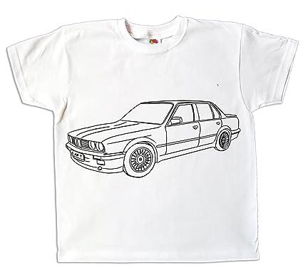 cfd2072177995 Pixkids Kinder T-Shirt Jungen Auto Zum bemalen und ausmalen mit Vordruck  Spiel Zum Kindergeburtstag