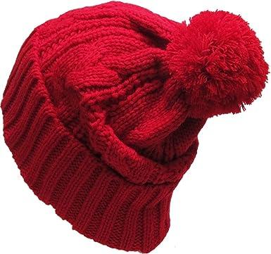 fb431ae84b5 KBW-510 RED Slouchy Cable Knit Pom Pom Beanie Winter Cap Chunky Skull Hat  Ski Kinit Warm New  Amazon.ca  Sports   Outdoors