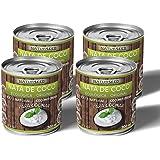 Naturseed - Nata de coco ecológica ORIGINAL 4x 200ml para cocinar, sin lactosa, sin aditivos, ni conservantes, 100% natural. Nata Vegetal. Leche de Coco