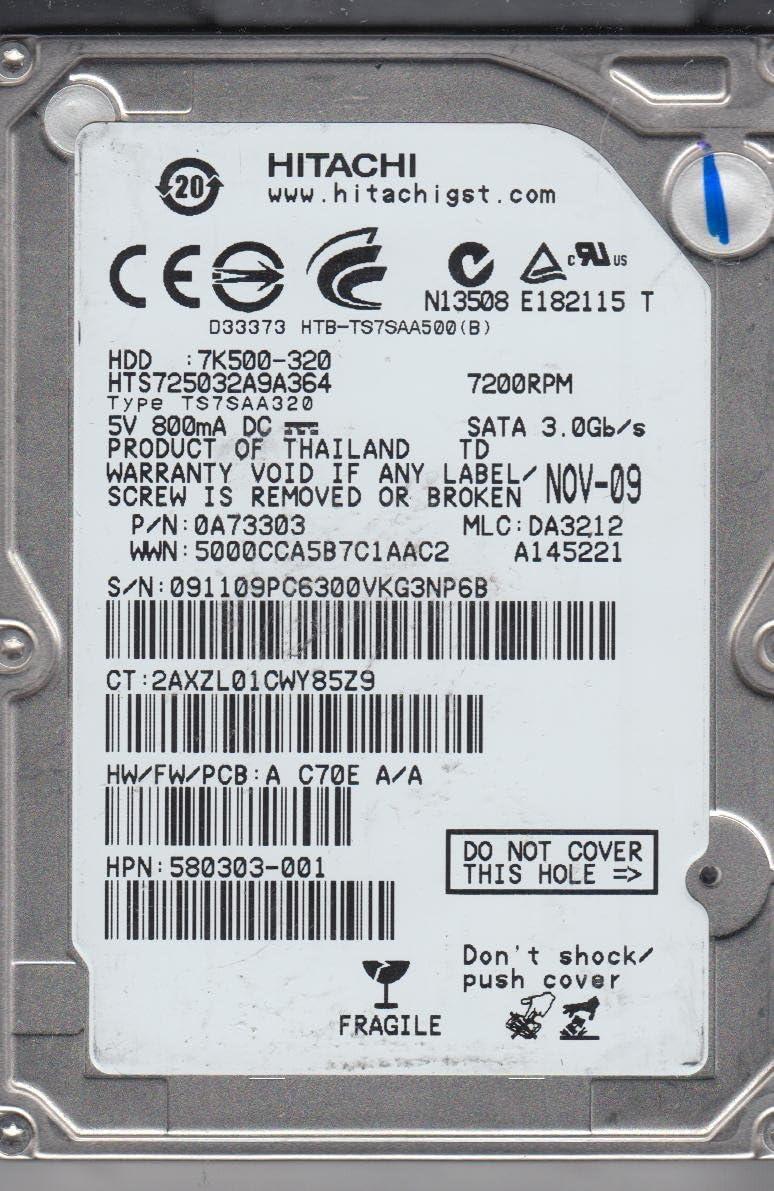 MLC DA3212 HTS725032A9A364 PN 0A73303 Hitachi 320GB SATA 2.5 Hard Drive