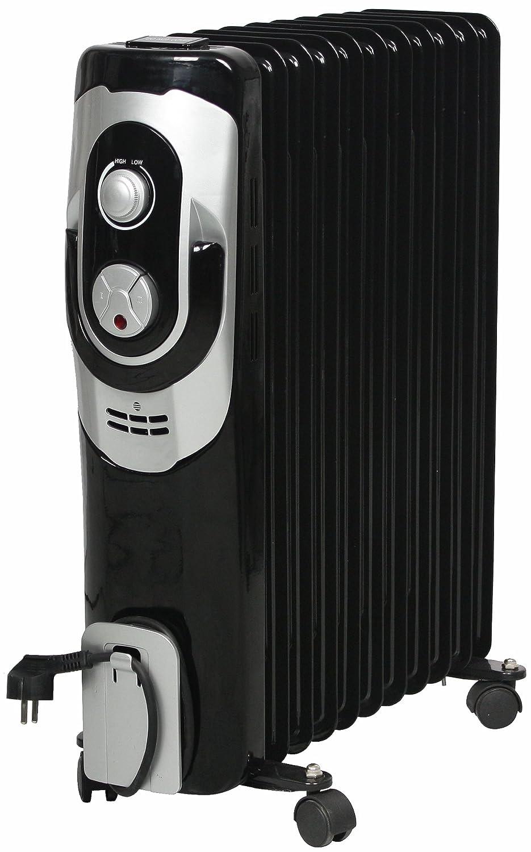 El Fuego® móvil eléctrico de aceite/eléctrico - Radiador eléctrico, con 11 Elementos, 2500 W, termostato, protección antivuelco + Protección contra ...