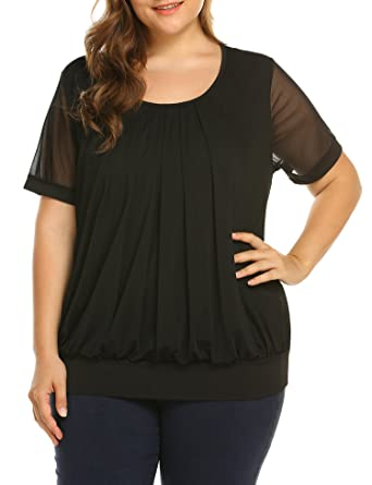 0e2b9c26839 IN'VOLAND Women's Plus Size Blouses Short Sleeve Tunic Tops Shirt Scoop Neck  Pleated Front