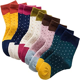 Rallytan Children's Sock Polka Dots Splicing Kids Ankle Socks 5 Pair Pack